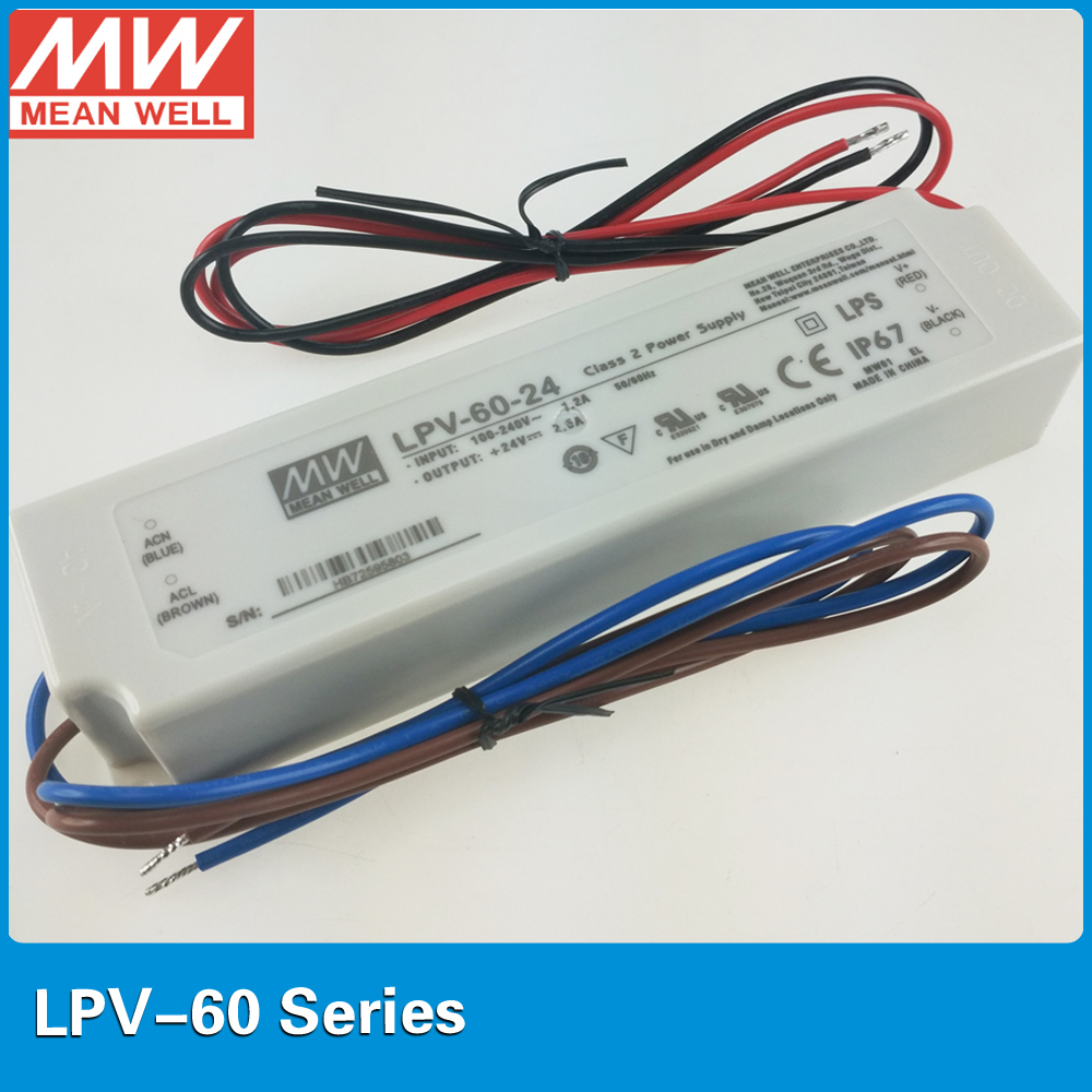 Original Meanwell constant voltage 24V Power Supply LPV-60-24 60W 2.5A IP67 UL CB CE EMC for LED lighting