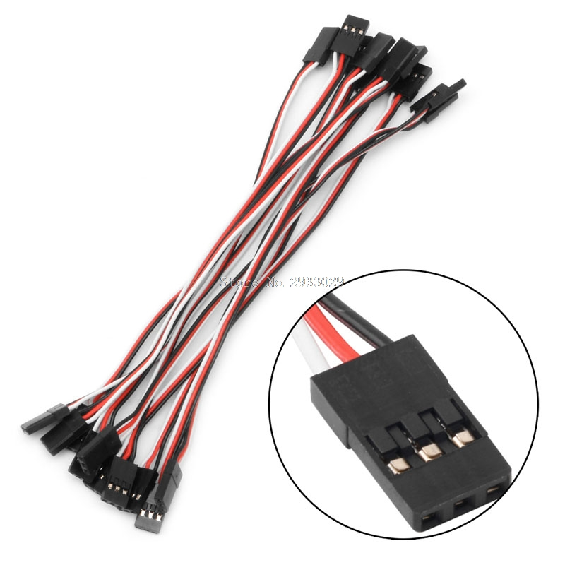 10Pcs 15cm Extension Lead Servo Male to Male Wire Cable For RC Futaba Quadcopter -B116 300mm 30cm jr male to male plug 26awg 100pcs lot rc servos extension lead wire cable for futaba cables wiring free shipping