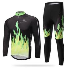 green fire long sleeved suit bicycle riding clothes clothing autumn moisture quick drying underwear