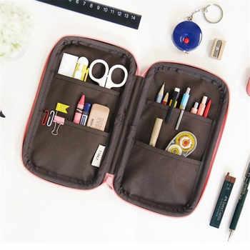 Kawaii Cute Cartoon Pencil Case PU Leather Large Big Girls Boys Penal School Pencilcase Multi Fold Pen Bags Box Stationery Pouch