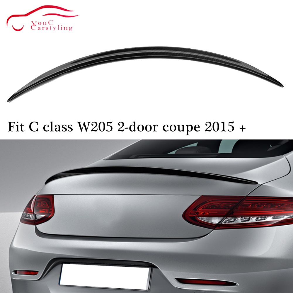 C63 Style Carbon Fiber Material Rear Spoiler Wing for <font><b>Mercedes</b></font> C W205 2-door <font><b>Coupe</b></font> 2015 + C180 C200 C250 <font><b>C300</b></font> C350 C400 image