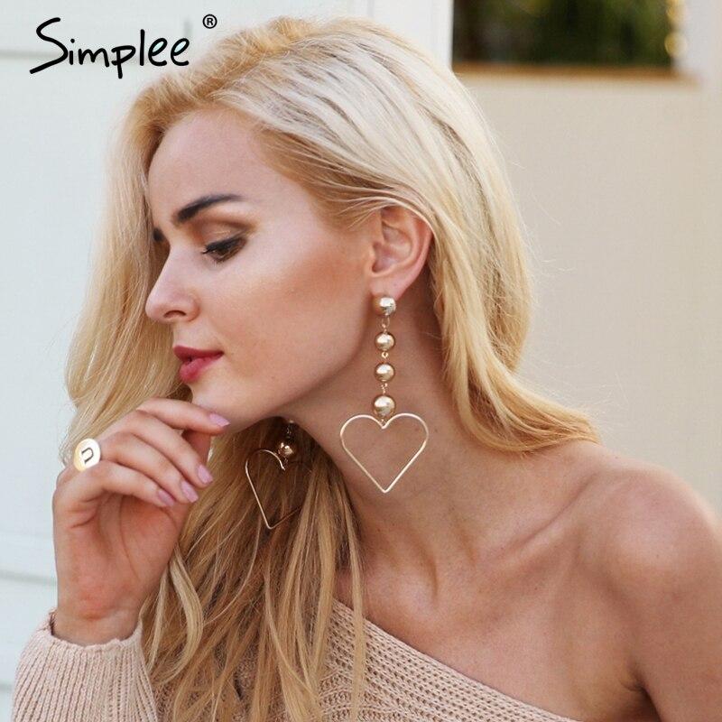 Simplee Big heart-shaped golden drop earrings Shiny metal charm earring 2017 Punk style earrings fine jewelry women accessories pair of delicate solid color hollow out heart punk style earrings for women