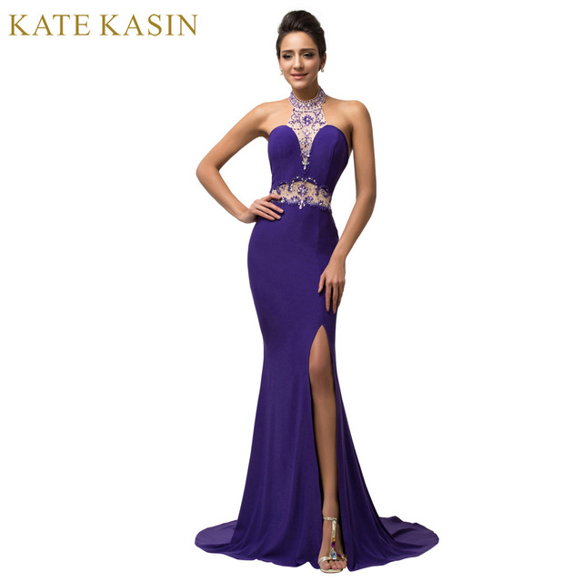 Sexy Backless Lange Lila Abendkleid 2017 Hohe Split Perlen Halter ...