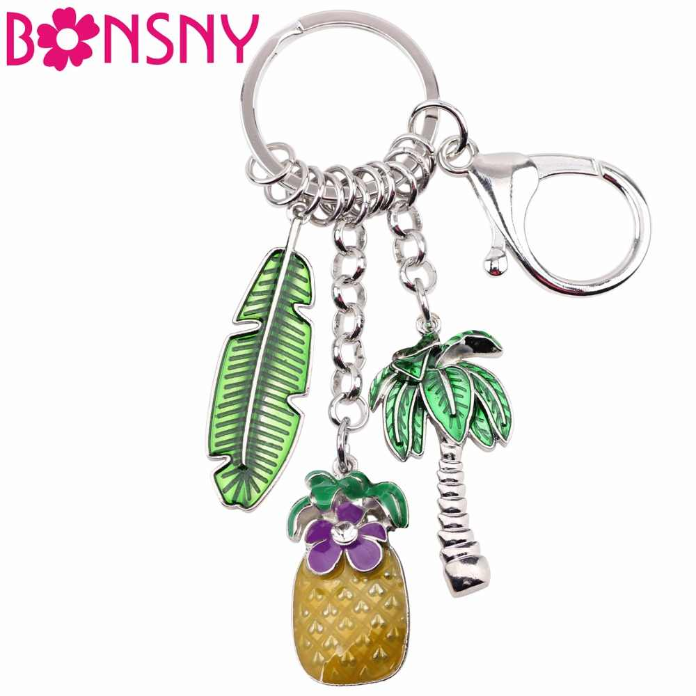 Bonsny сплав зеленый кокосовой пальмы ананас Ключ Цепочки брелок кольцо уникальный держатель ювелирных изделий для женщин подарок девочк