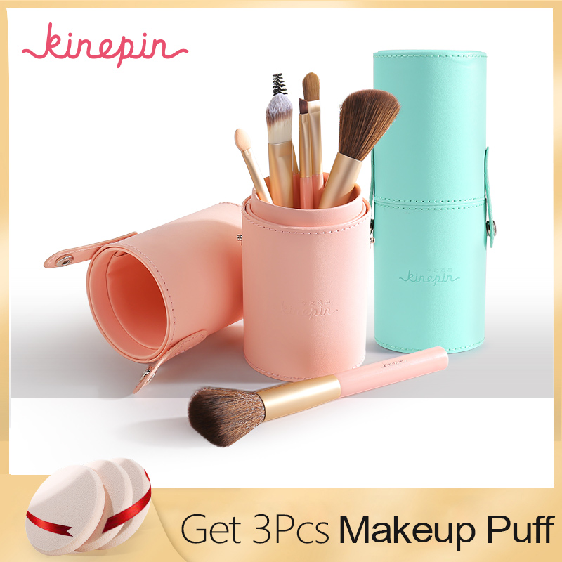 KINEPIN Merek Kompak 7 pcs Makeup Brushes Set Kit Travel Penting Portabel PU Studio Brush Holder Tabung Kulit Cup Kontainer