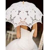 100%綿手作りヴィンテージベージュ&ホワイトバッテンバーグレースパラソルハート形状傘用レディ