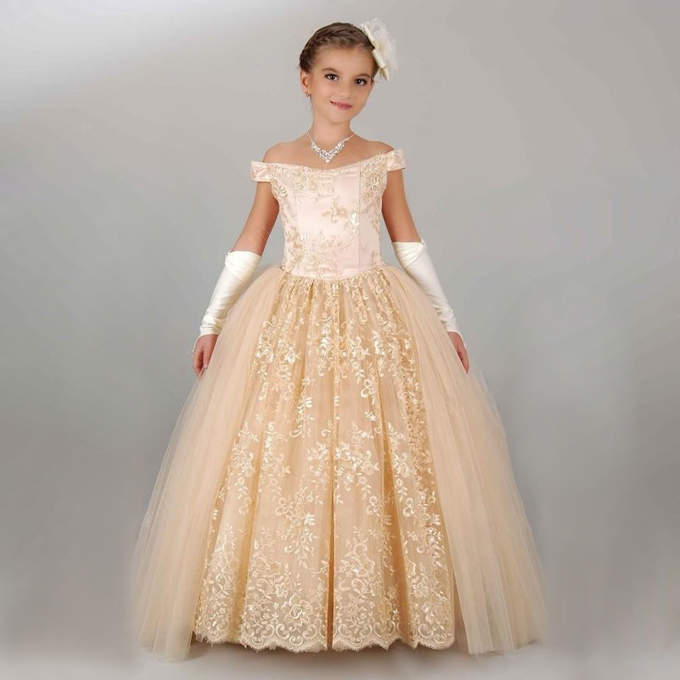 Pageant Dresses for Little Girls Lace Appliques Half Sleeve Beading ...