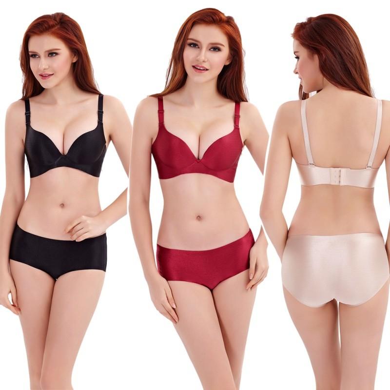 02eae5ade Soft Women Lingerie Push Up Bra Set Underwear Satin Seamless Panty ...