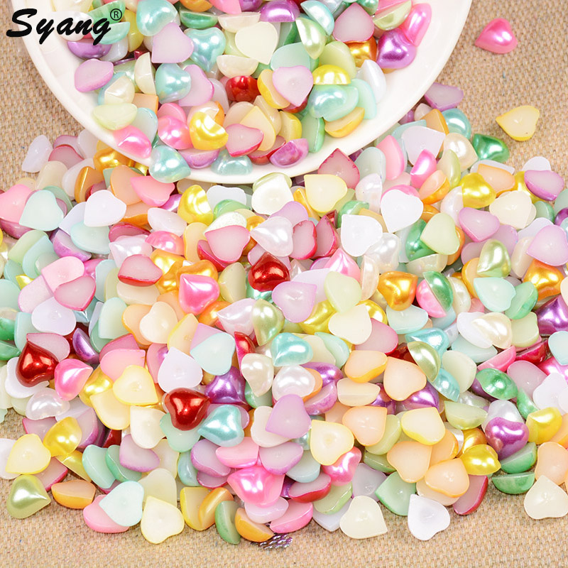 Mix Color Heart Shape Imitation Half Round Pearl Flatback Beads For Diy Craft Jewelry Accessories 4/6/8/10/12mm 300pcs/lot Beads & Jewelry Making Beads