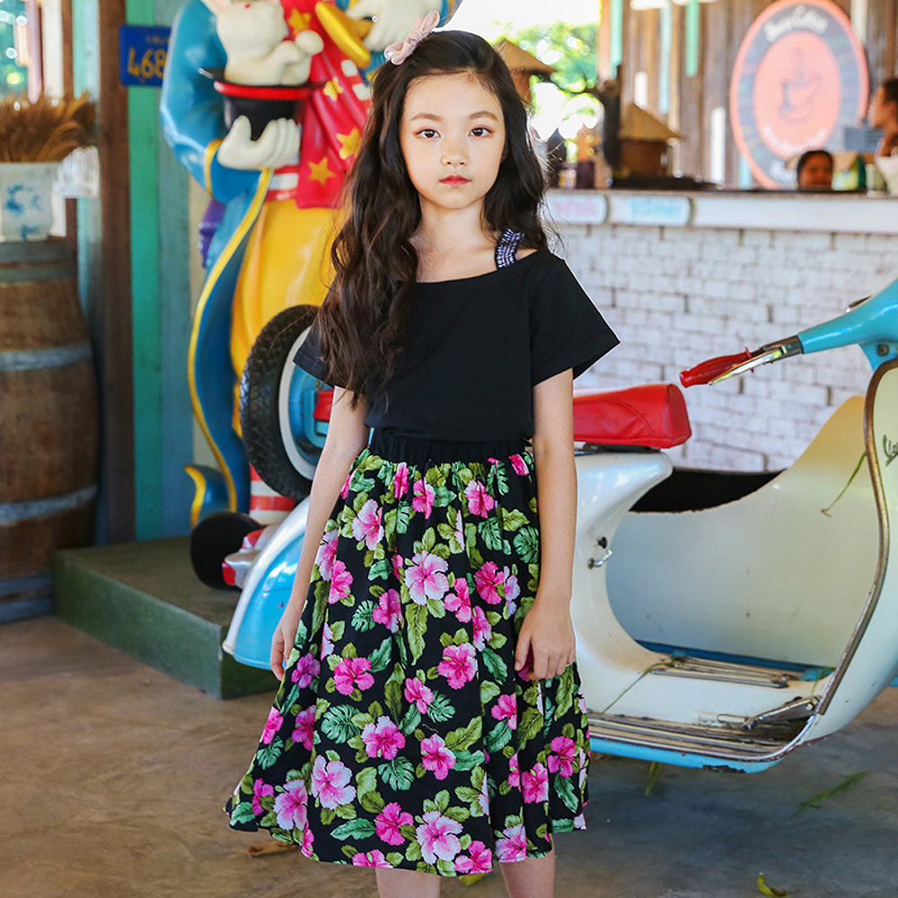 Girls Set 2018 Summer Children Clothing Teens Kids Clothes Sleeveless T Shirt + Long Floral Print Skirts 2 Pcs Sets 4-14Y CC701