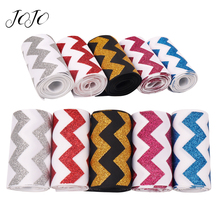 JOJO BOWS 75mm 2y Sparkly Glitter Ribbon For Craft Needlework Material DIY Hair Bow Webbing Apparel Sewing Tape Party Decoration недорого
