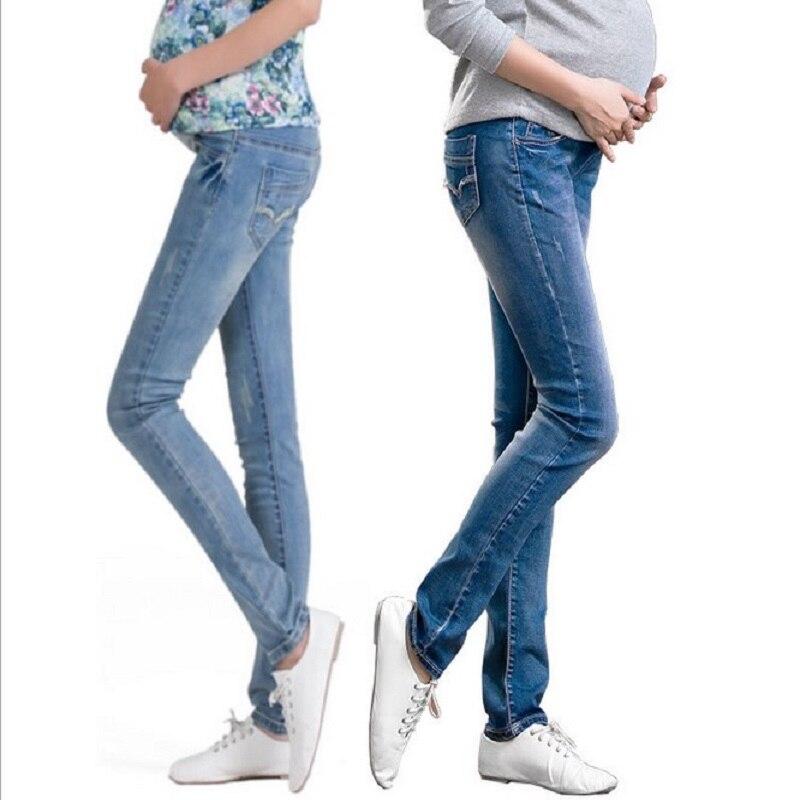 Elastisk midja moderskap jeans byxor för graviditet kläder för gravida kvinnor legging höst / vinter 2015 moderskap plus storlek