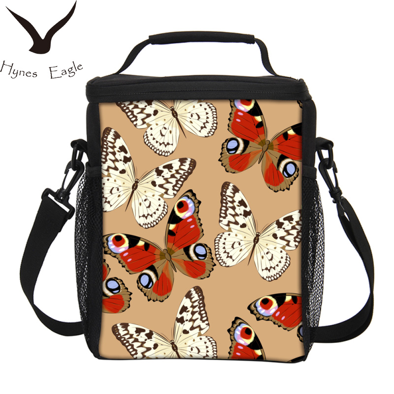 Hynes Eagle Brand Large Capacity Lunch Bags Butterfly Printing