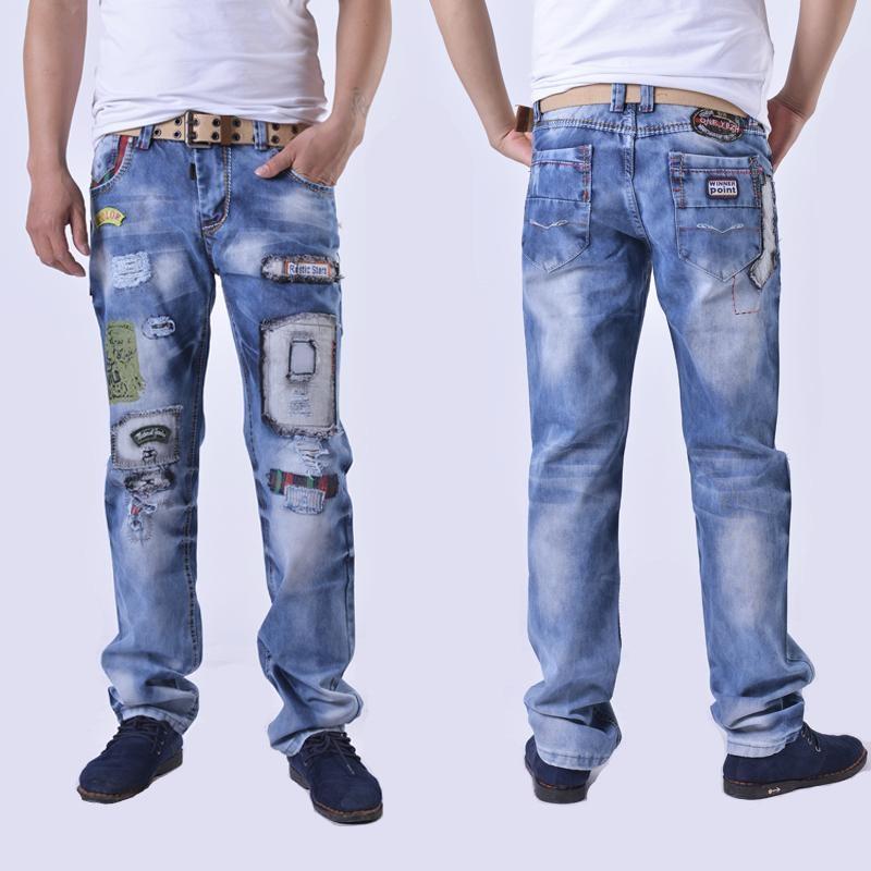 fashion brand cotton men jeans luxury Men's casual denim trousers hole zipper Slim light blue ripped printed jeans for men цены онлайн