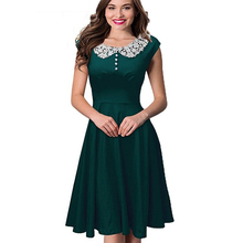 New Arrival Women's Summer Fashion Elegant Floral Lace Cocktail Party Skater Dress