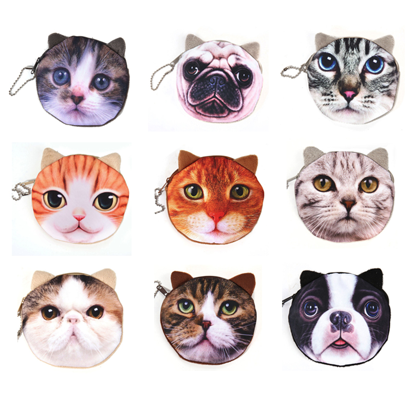 Wholesale Mini Wallet PU Cartoon Cat/Dog Keychain Gift Coin Bag Purse Zipper Clutch Bags 1bag/5pcs Drop Shipping