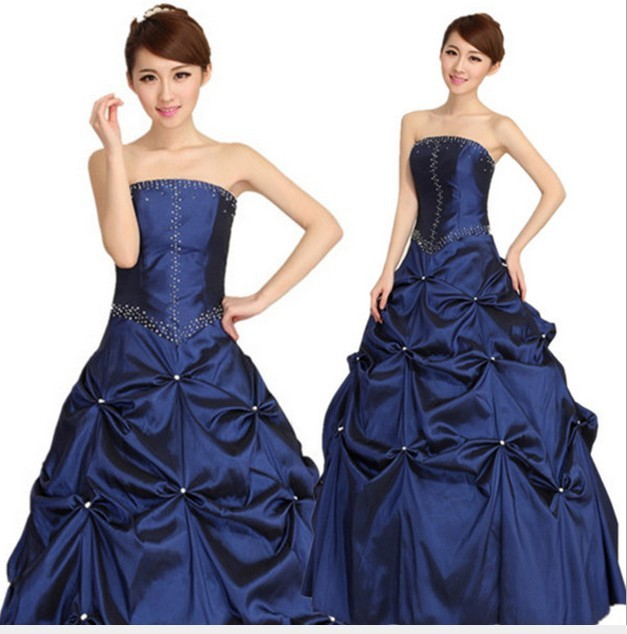 Shire Blue Pearl Pleated Elegant Lace Up Ball Gowns Wedding Reception Dresses Bride Marriage Dinner Party