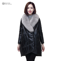 2017 New Women Winter Coat Plus Size Down Jackets Female Fur Collar Genuine Leather Overcoat Black