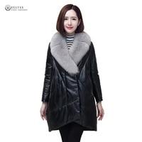 2017 New Women Winter Coat Plus Size Down Jackets Female Fur Collar Genuine Leather Overcoat Black