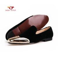 Мужская обувь Новые черные бархатные туфли с золотыми буллоками и пряжкой, модные мужские лоферы для вечеринки и свадьбы, большие размеры, м