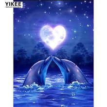 Алмазная вышивка «дельфины» в море 5d алмазная живопись «сделай