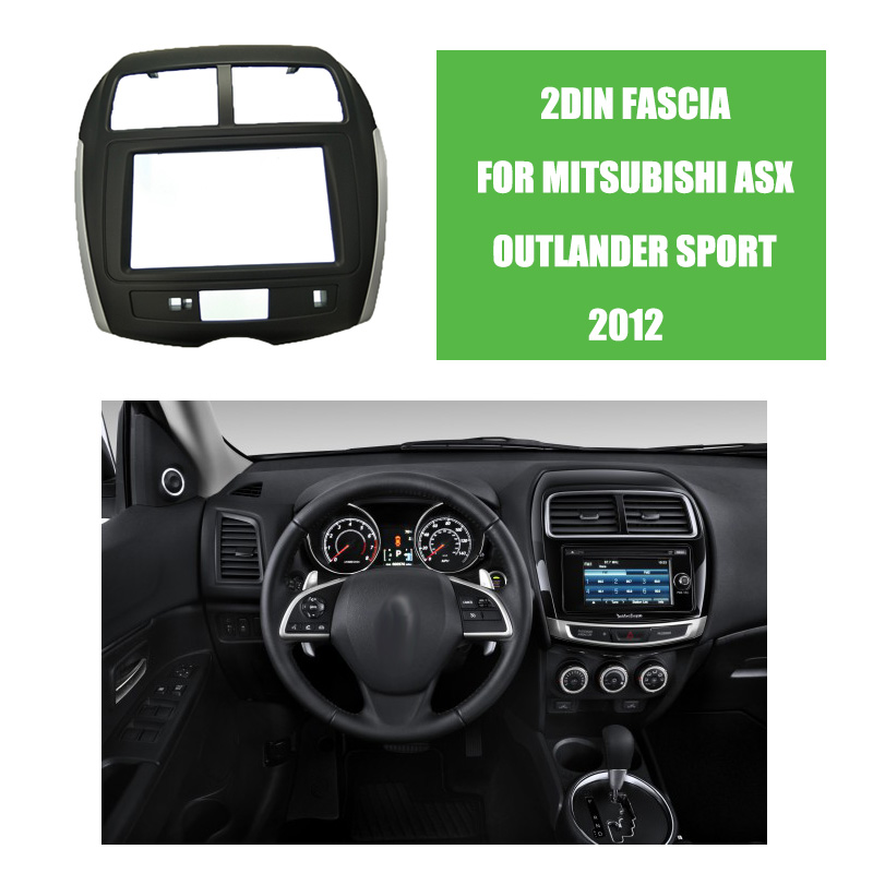 car styling 2din car radio fascia for 2012 mitsubishi asx outlander sport auto stereo panel kits. Black Bedroom Furniture Sets. Home Design Ideas