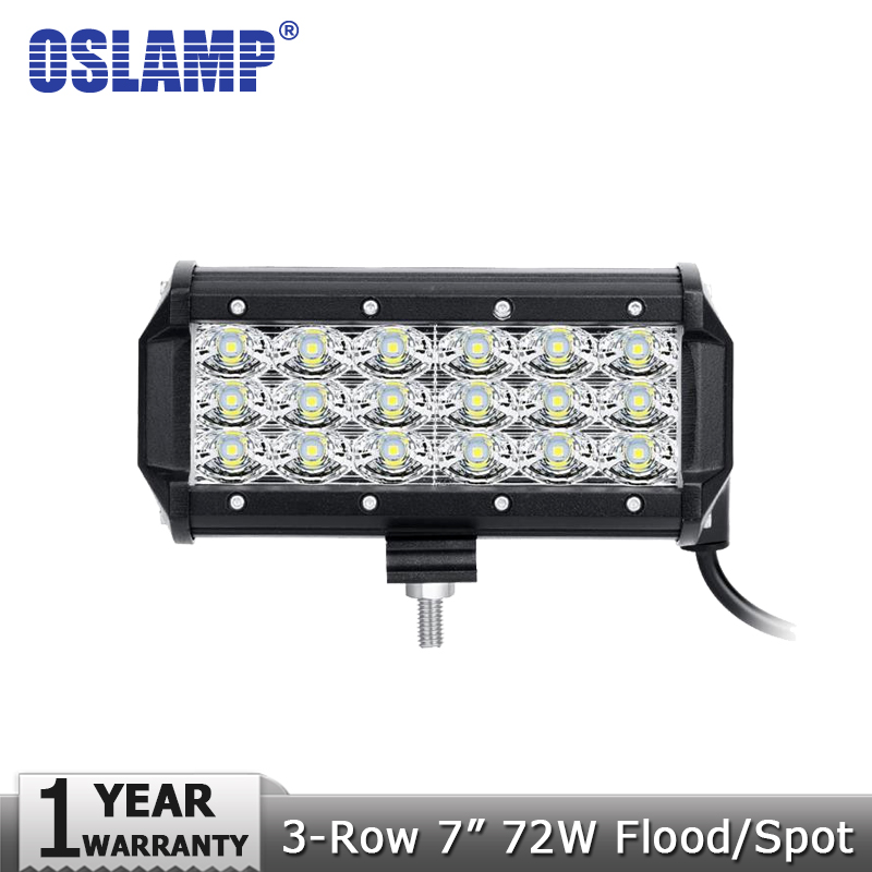 Oslamp 72W 7 3-Row LED Work Light Bar Spot Flood Beam Led Bar Offroad Driving Work Lamp for 12V 24V Truck SUV ATV 4x4 4WD Boat oslamp reflection cup 7inch led work lights 4x4 4wd offroad driving led light 4inch spot flood 12v 24v atv boat suv truck car