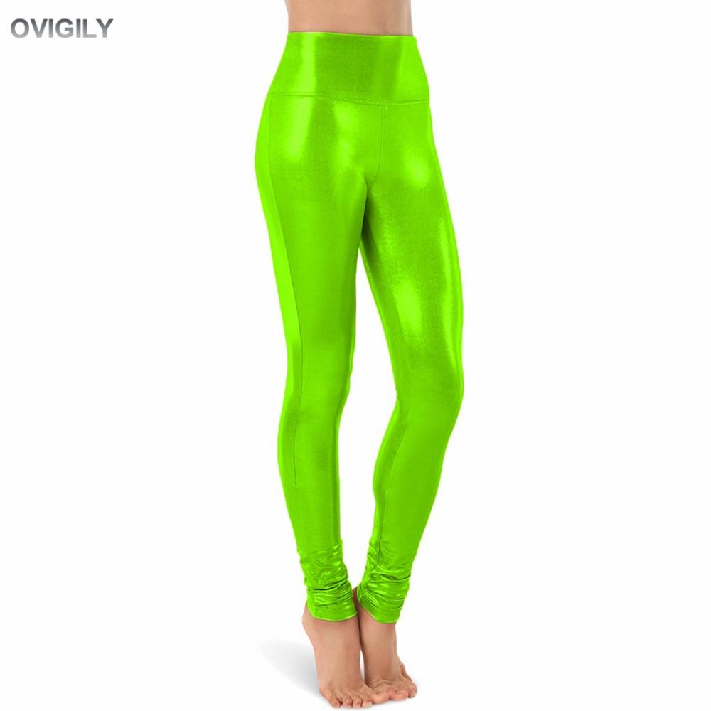 OVIGILY 13 Colors Women High Waisted Metallic Dance Leggings Full Length Shiny Performance Costumes Spandex Pants Adult Trousers