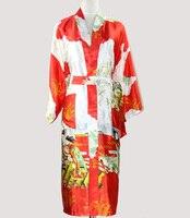 אדום סקסי יפני קימונו אמבט שמלת משי ארוך נשים הלבשה תחתונה זהורית הלבשת Robe S M L XL XXL XXXL NR036 שושבינה חתונה