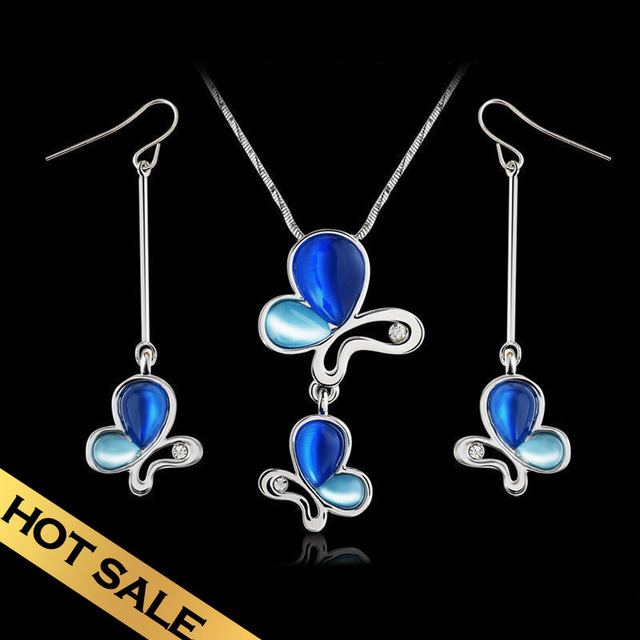 Special Necklace & Drop Earrings Jewelry Sets Synthetic Opal Classic Vintage Butterflies Design Free Shipping Jewelry TZN04A08