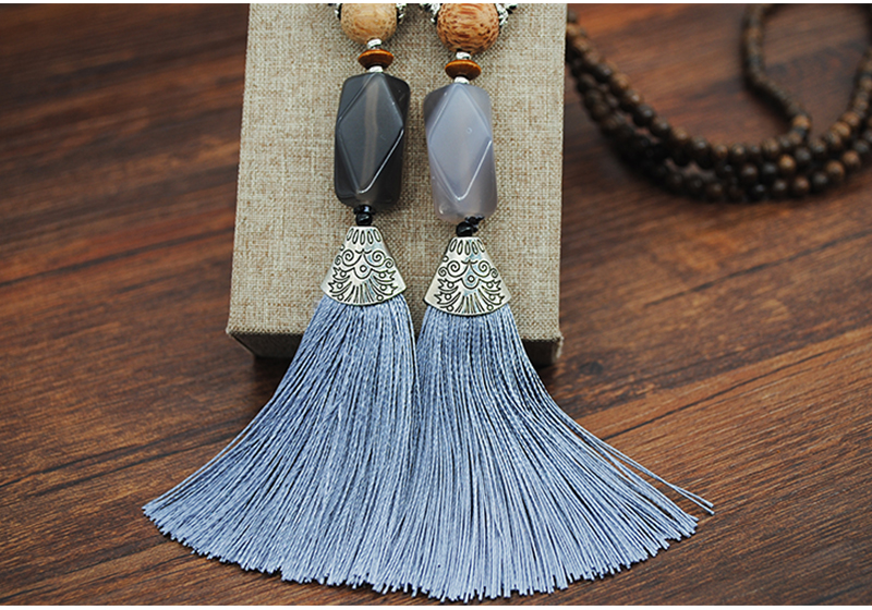 Yumfeel New Women Jewelry Necklace Handmade Wood Beads Natural Stone Yellow Tassel Necklace Gifts 12