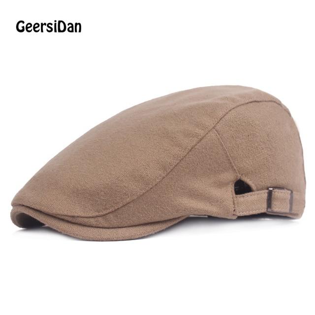 GEERSIDAN2018 Fashion women Octagonal Cap Newsboy autumn winter Beret Hat  For Men Design Casual solid black 15153d7891f9