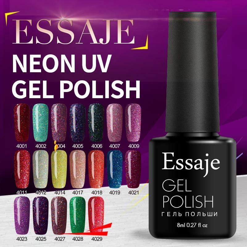 Hot Sale Essaje Black Bottle 8ml Neon Nail Gel Polish Rainbow