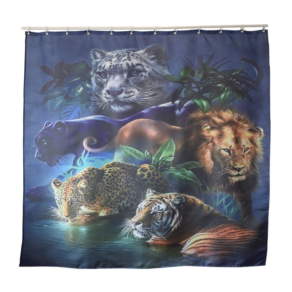 Papa&Mima Lion tiger Printed Waterproof Shower Curtains Polyester Bathroom Curtains With Hooks 180x180cm Decorative Bathtub