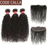 Code Calla Unprocessed Brazilian Pre colored Raw Virgin Human Hair Extensions Kinky Curly Bundles With Frontal 13*4 Lace Closure