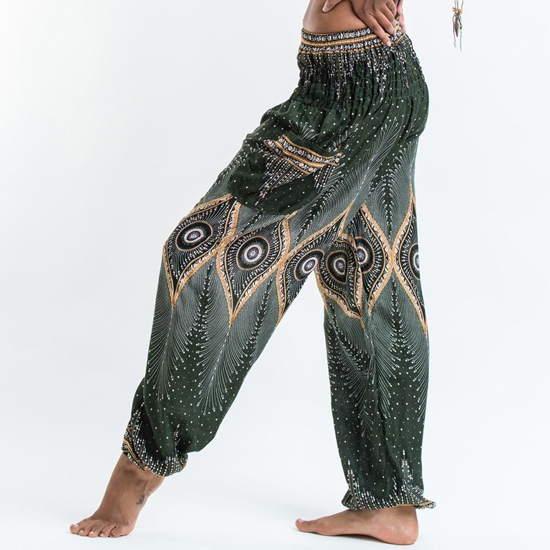 Women National Style Loose Cotton Printed Pants Elastic Baggy Boho Female Harem Long Pants Comfy Side Pocket Indie Folk Trousers