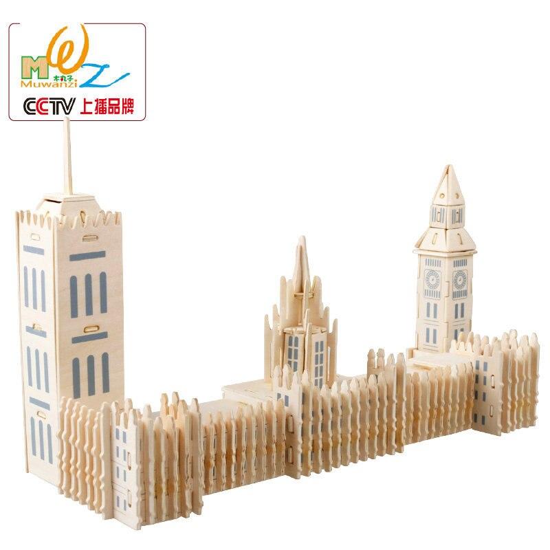 I Bambini liberi di trasporto 3D puzzle di legno giocattolo modelli in scala Princess Castle/Tower Bridge/Big Ben/Notre Dame DE Paris giocattolo di legno Per Bambini