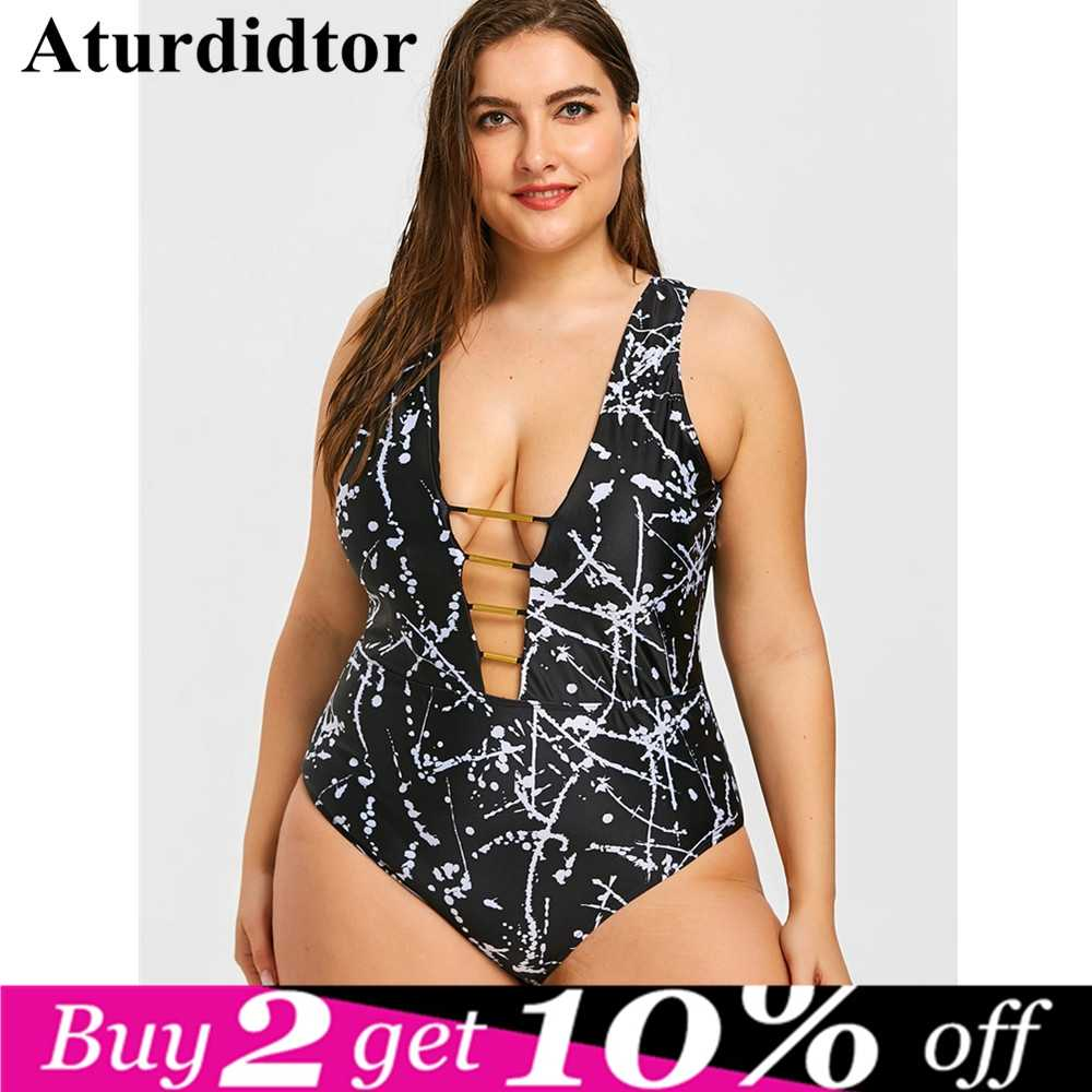 97843b0abc7 Plus Size One Piece Swimsuit Plunge Cut Out Printed Bathing Suit Sexy Back  Backless Large Size