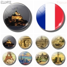 Travel France Souvenir 30MM Glass Fridge Magnet Mont Saint Michel Abbey Provence Arc De Triomphe  Refrigerator Magnetic Decor