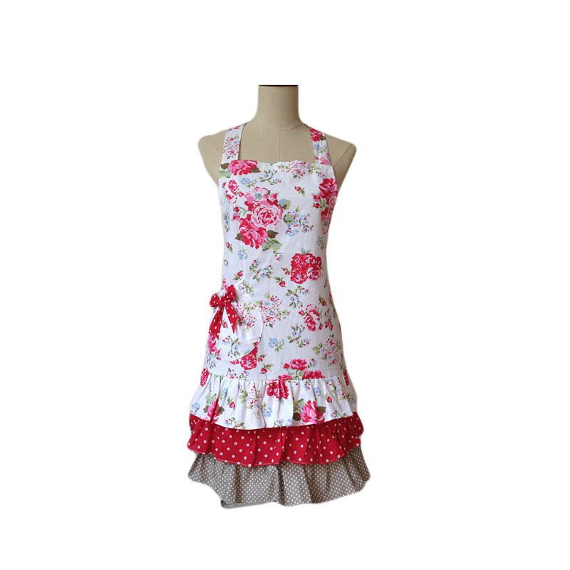 US $12.19 39% OFF|Retro Kitchen Apron Women Floral Rose Cotton Canvas  Ruffled Cooking Avental de Cozinha Divertido Tablier Cuisine Pinafore  Apron-in ...