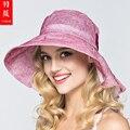 Акция! леди Новый Пляж Вс Шляпы Женщины Summer Sun Cap Девушка Большой Bongrace Шляпа с Широкими Полями, ветрозащитные Цветок Sunhat B-3719