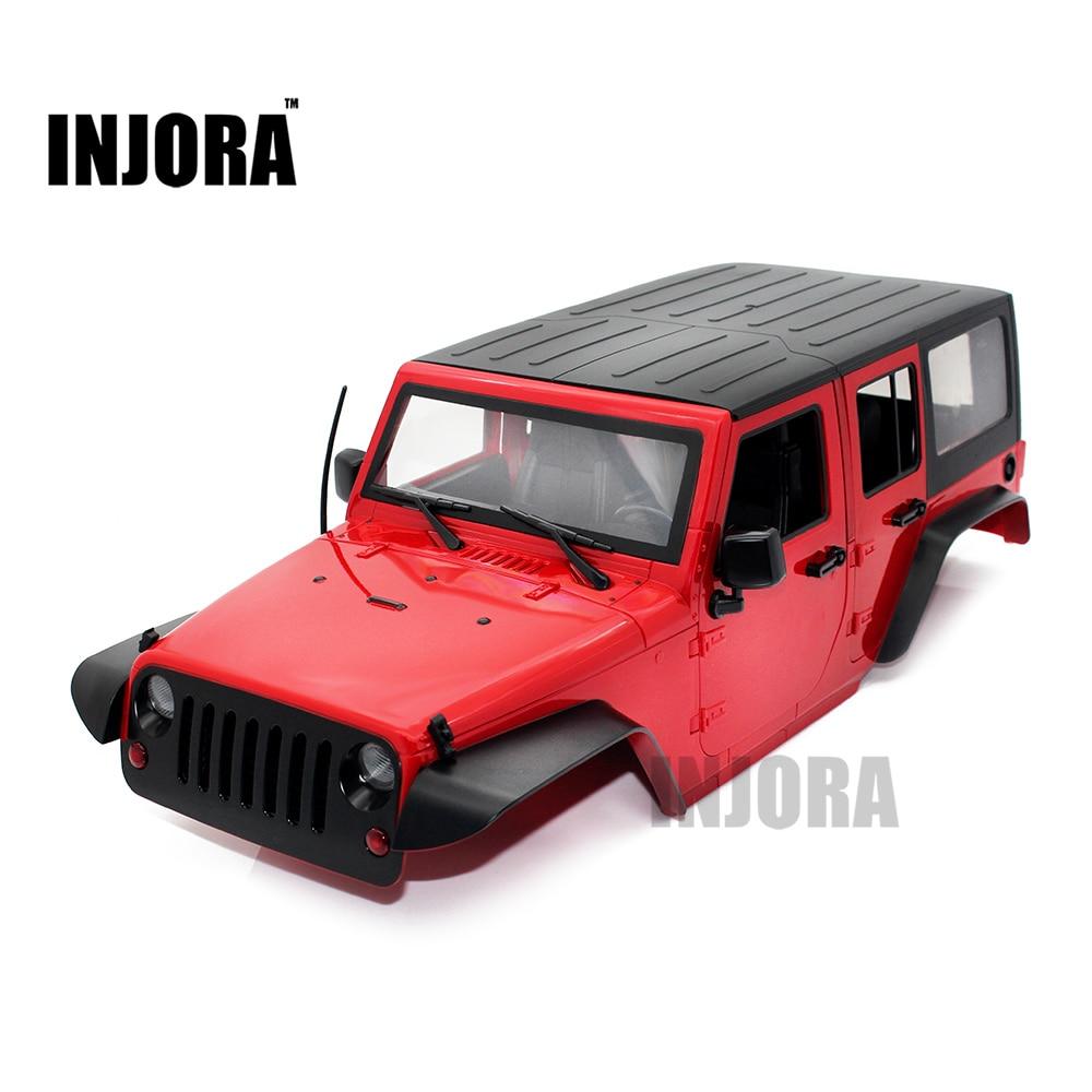 INJORA Hard Plastic 12.3inch 313mm Wheelbase Jeep Wrangler Rubicon Car Shell for 1/10 RC Rock Crawler Axial SCX10 rc car crawlers frame bracket for axial scx10 adjustable wheelbase 313mm 305mm 290mm