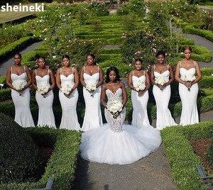 Женское атласное платье подружки невесты, белое платье подружки невесты на тонких бретельках, недорогие Сексуальные вечерние платья, 2019