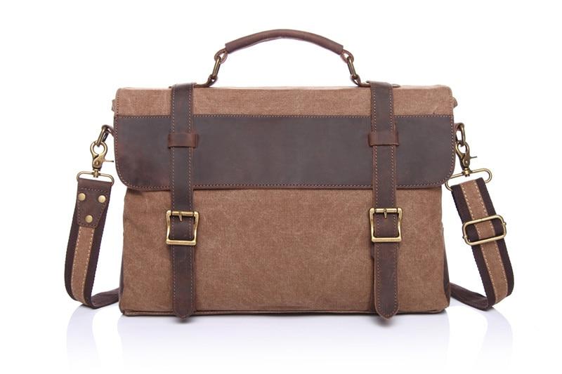 Nesitu Cyan Army Green Grey Khaki Coffee Crazy Horse Leather Canvas Men Briefcase Women Man Messenger Bags Portfolio M1870