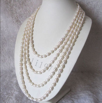 Long 100 inch 7-8mm White Freshwater Cultured Rice Pearl Necklace