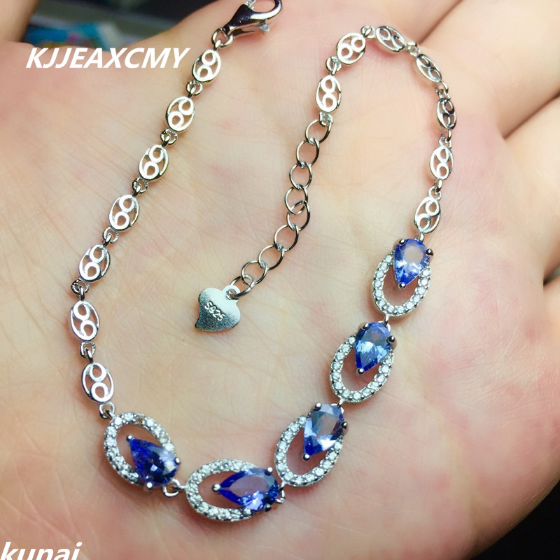 KJJEAXCMY Fine jewelry Multicolored jewelry 925 silver inlay natural <font><b>Tanzanite</b></font> <font><b>Bracelet</b></font> Adjustable drop a female image