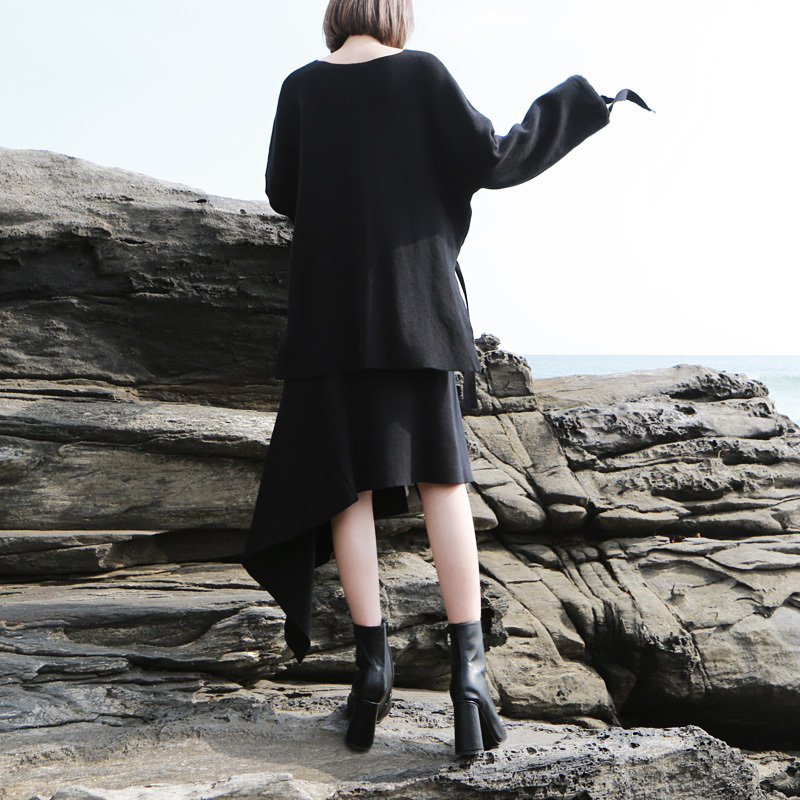 [EAM] 2019 New Spring Round Neck Long Sleeve Irregular Hem Half-body Skirt Knitting Two Piece Suit Women Fashion JK414