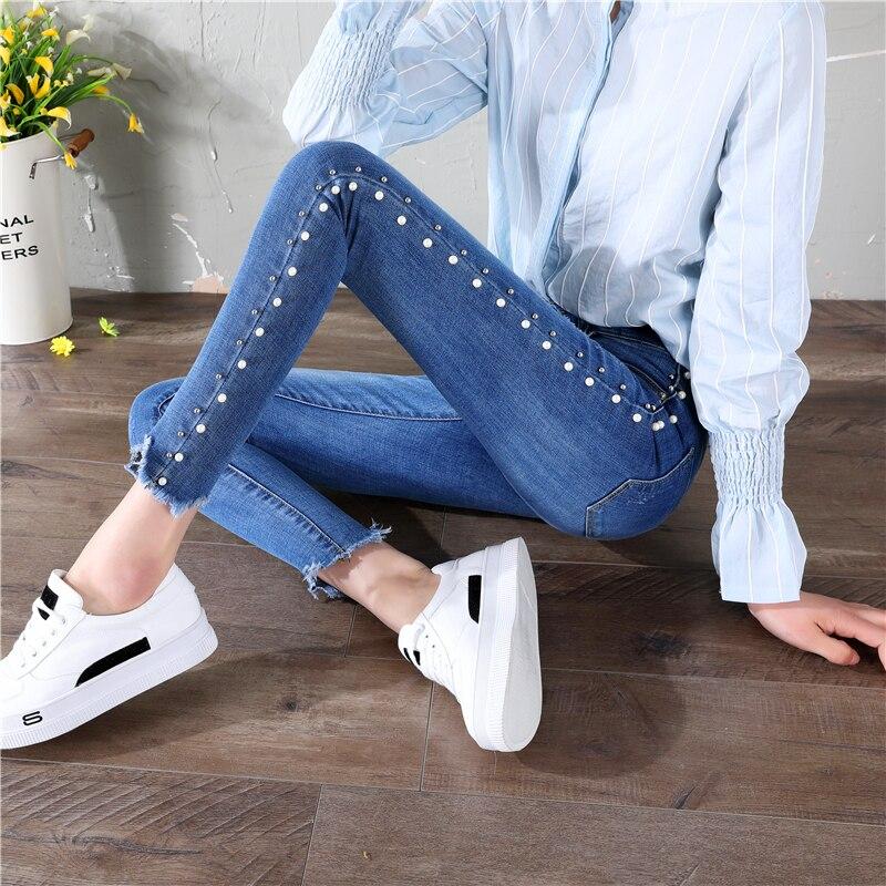 Hight Taille Jeans D'été 2018 Maigre Perle Jeans Lavage Jeans Bleu Zipper Fly Plaine Côté Bande Denim Jeans Femmes Casual pantalon