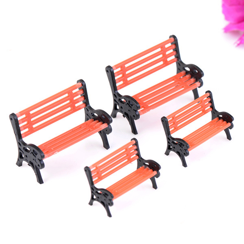 1pcs Plastic Mini Garden Park Bench Craft Fairy Dollhouse Decor Outdoor Forestwoods Home Wedding Party DIY Decoration