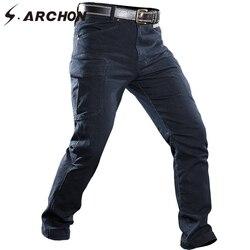 Мужские джинсы с несколькими карманами S. ARCHON, ветронепроницаемые джинсы-карго в стиле милитари для езды на мотоцикле
